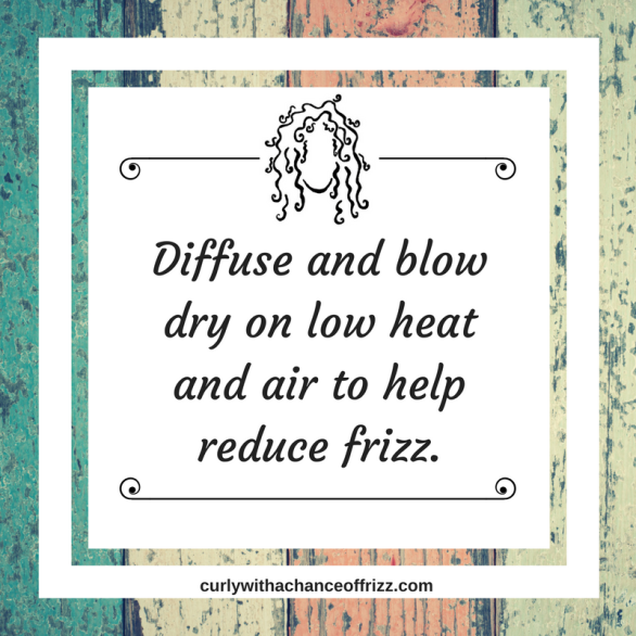 Diffuse and blow dry on low heat and air to help reduce frizz